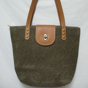 ERIC JAVITS  woven w/ leather Squishee tote purse